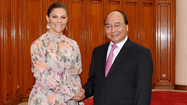 Prime Minister Nguyen Xuan Phuc and Swedish Crown Princess Victoria Ingrid Alice Desiree (Photo: Tran Hai)