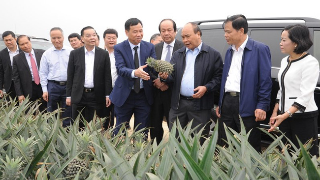 PM Nguyen Xuan Phuc visits a farm of DOVECO. (Photo: Tran Hai)