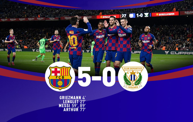 Barcelona 5-0 Leganes, 31/01/2020