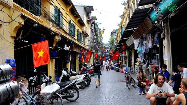An street in Hanoi's Old Quarter popular with foreign tourists