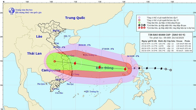Location and movement of Typhoon Molave. (Photo: nchmf.gov.vn)