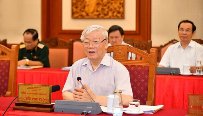 Party General Secretary and President Nguyen Phu Trong speaks at the session. (Photo: NDO/Dang Khoa)