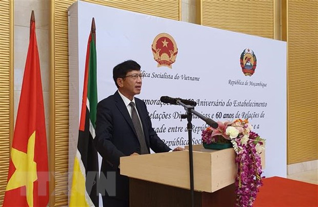 Vietnamese Ambassador to Mozambique Le Huy Hoang speaks at the event. (Photo: VNA)
