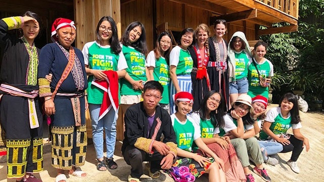 Bek and his partners at their volunteer programme in Ta Phin village in Lao Cai province.