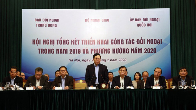 Deputy Prime Minister and Foreign Minister Pham Binh Minh speaking at the meeting. (Photo: VGP)
