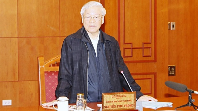 Party General Secretary and President Nguyen Phu Trong speaking at the meeting (Photo: VNA)