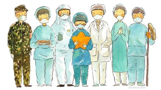 The entire Vietnamese nation must join hands and stay united to overcome all difficulties and challenges and to stamp out the COVID-19 epidemic. (Illustrated by KAA Illustration)