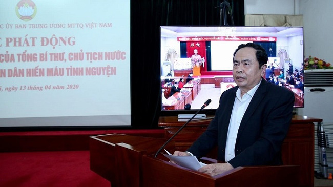 VFF Central Committee President Tran Thanh Man call on the people to join the blood donation drive in response to a letter of Party General Secretary and State President Nguyen Phu Trong. (Photo: VNA)