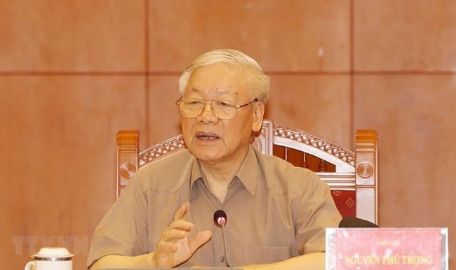 Party General Secretary and State President Nguyen Phu Trong speaks at the meeting (Photo: VNA)
