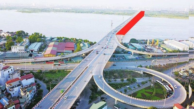 The red section illustrates the second phase of Vinh Tuy Bridge