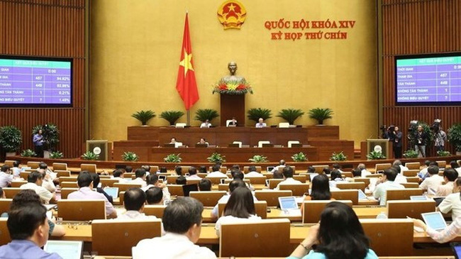 Lawmakers vote on law amending and supplementing some articles of the Law on the Issuance of Legal Documents (Photo: VNA)