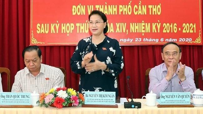 NA Chairwoman Nguyen Thi Kim Ngan at the meeting. (Photo: VNA)