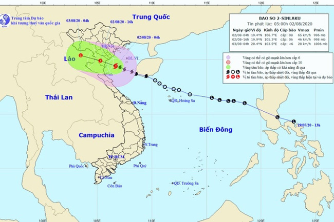 The projected path of Tropical Storm Sinlaku. (Photo: nchmf.gov.vn)