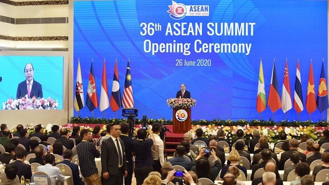 Vietnamese Prime Minister Nguyen Xuan Phuc speaks at the opening ceremony of the 36th ASEAN Summit on June 26.