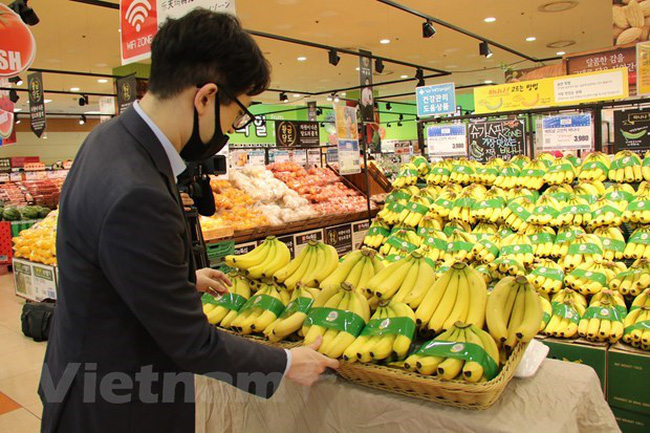 Vietnamese bananas put on sale in the RoK (Photo: VNA)