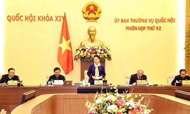 NA Chairwoman Nguyen Thi Kim Ngan speaks at the meeting. (Photo: VNA)