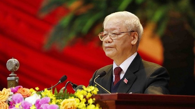 Party General Secretary and State President Nguyen Phu Trong speaks at the ceremony (Photo: VNA)
