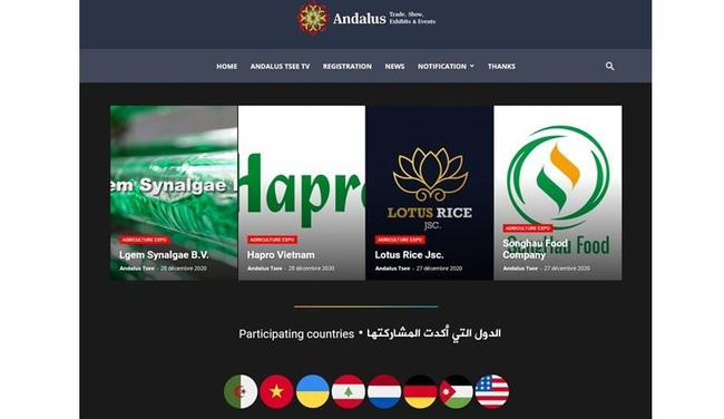 Six Vietnamese firms are among exhibitors at a virtual international agricultural expo in Algeria held by Andalus Trade, Show, Exhibits and Events (Andalus Tsee) from January 1 – 31. (Photo: Screenshot from Andalus Tsee's website)