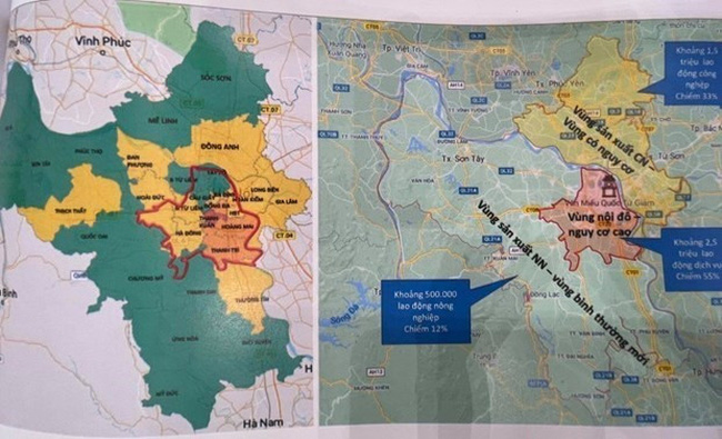 Detail maps on the division of zones in Hanoi (Photo: VNA)