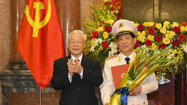 General Secretary and President Nguyen Phu Trong and Deputy Minister of Public Security Nguyen Van Son