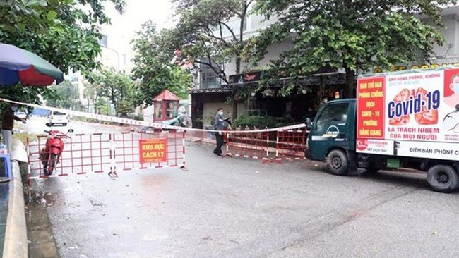 The area around a hotel in Hai Phong city where the patient had stayed at was blockaded. (Photo: VNA)
