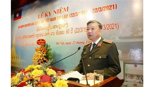 Politburo member, Minister of Public Security General To Lam addresses the event. (Photo: VNA)