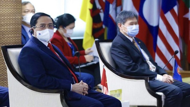 Prime Minister Pham Minh Chinh at the ASEAN Leader's Meeting (Photo: VGP)