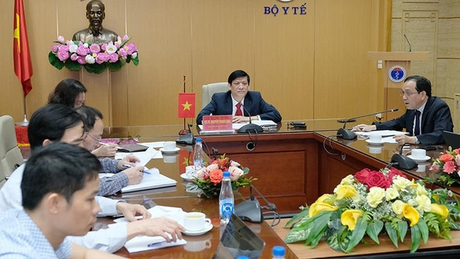 Minister of Health Nguyen Thanh Long at the online meeting. (Photo: Vietnam+)