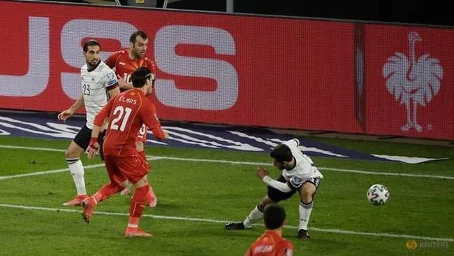 North Macedonia's Eljif Elmas scores their second goal. (Reuters)