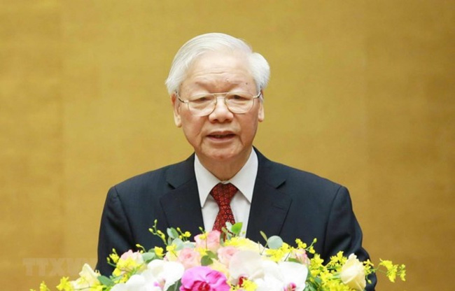 Party General Secretary Nguyen Phu Trong speaks at the national teleconference. (Photo: VNA)
