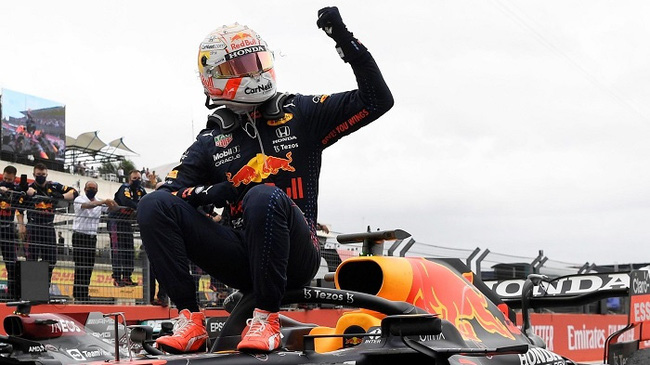 Formula One F1 - French Grand Prix - Circuit Paul Ricard, Le Castellet, France - June 20, 2021 Red Bull's Max Verstappen celebrates after winning the race. (Photo: Reuters)