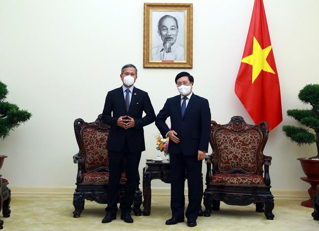 Deputy Prime Minister Pham Binh Minh (R) meets Singaporean Foreign Minister Vivian Balakrishnan in Hanoi