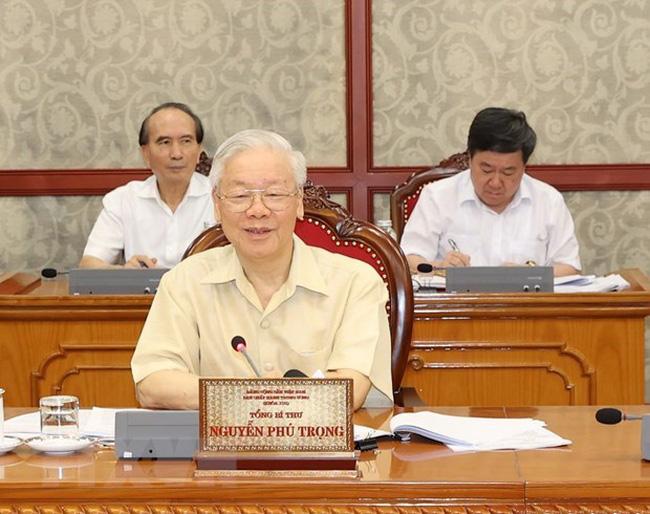 Party General Secretary Nguyen Phu Trong addresses the Politburo's meeting on June 25 (Photo: VNA)