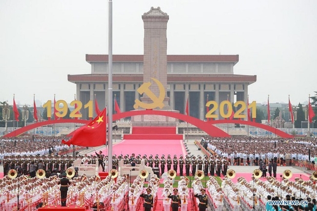 A flag-raising ceremony is held during a grand gathering celebrating the Communist Party of China (CPC) centenary at Tian'anmen Square in Beijing, capital of China, July 1, 2021. (Photo: Xinhua)