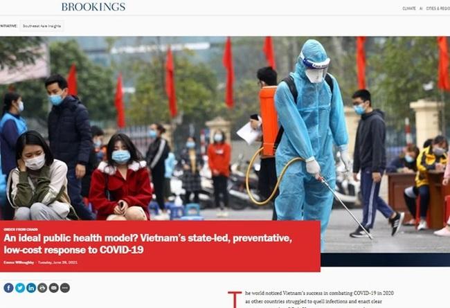 The article on the website brookings.edu. (Photo: VNA)