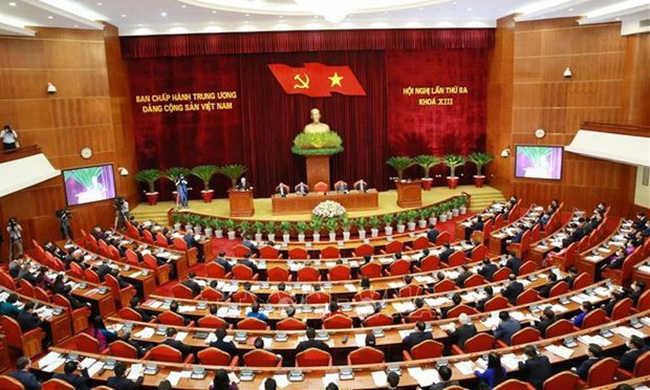 An overview of the opening of the 13th Party Central Committee 's third plenum. (Photo: VNA)