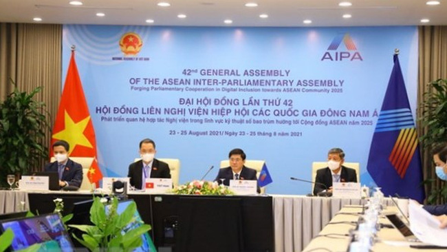 The Vietnamese delegation at the meeting of the Social Committee in the framework of AIPA 42 (Photo: VNA)