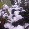 Snow pellets fall on Mount Fansipan