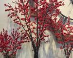 Đào đông đỏ hút người mua ngày cận Tết