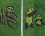 Bức tranh gấu trúc khổng lồ trên đồng lúa