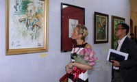 Paintings of General Vo Nguyen Giap displayed in Hanoi