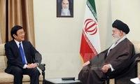 President Truong Tan Sang meets Iranian parliamentary Speaker
