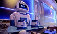 Robot works at Hanoi coffee shop
