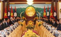 Top leaders of Vietnam and Laos hold talks in Vientiane
