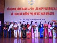 Giải thưởng Phụ nữ Việt Nam 2016 vinh danh 6 tập thể, 10 cá nhân