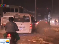 Triều cường gây cản trở giao thông tại Vĩnh Long
