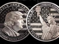 Đồng xu bạc 1kg in hình Tổng thống Mỹ Donald Trump