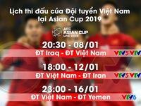 Lịch thi đấu và tường thuật trực tiếp của ĐT Việt Nam tại Asian Cup 2019