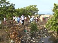 TP.HCM: Hàng trăm học sinh nhặt rác làm sạch đảo Thạnh An