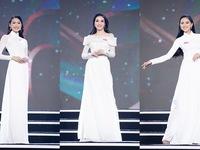 Sắc trắng tinh khôi phủ kín sân khấu phần thi Áo dài Bán kết Hoa hậu Việt Nam 2020